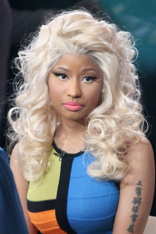Nicki Minaj Curly Platinum Blonde Barrel Curls Messy