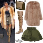 Nicki Minaj: Fur Coat, Military Skirt