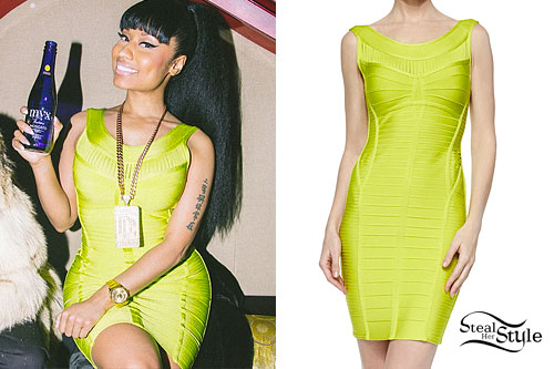 Nicki Minaj: Neon Green Bandage Dress