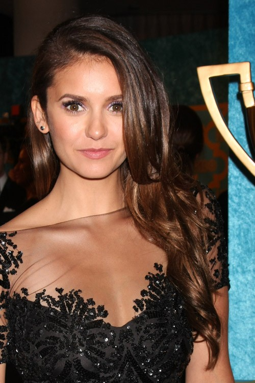 nina dobrev wavy dark brown faux sidecut side part