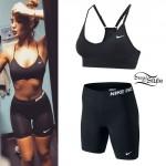 Niykee Heaton: Black Sports Bra & Bike Shorts