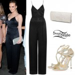 Perrie Edwards: Black Jumpsuit, Glitter Sandals