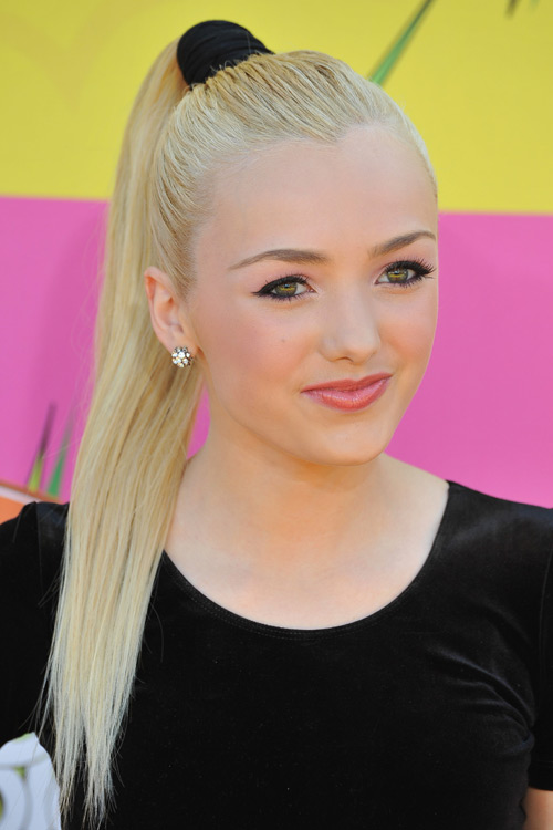 Peyton List Straight High Ponytail Ponytail Hairstyle