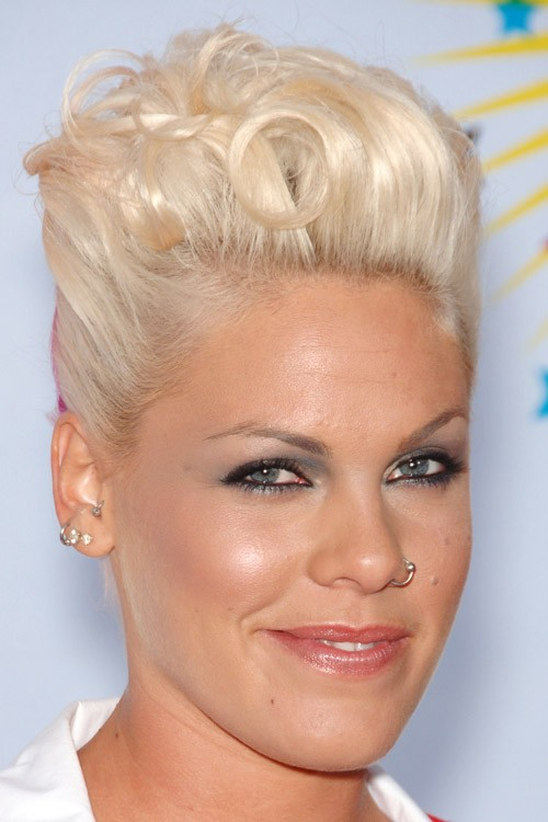 how does pink style her hair pink wavy platinum mohawk twists hairstyle 5922 | pink hair 3 500x750