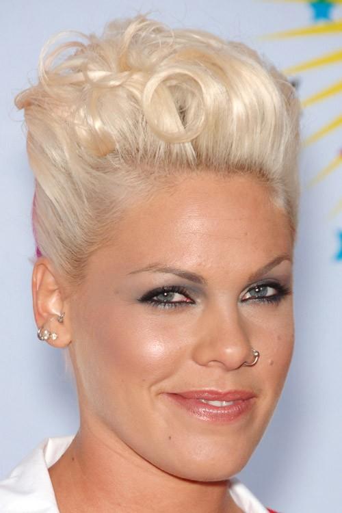 Pink Wavy Platinum Blonde Mohawk Twists Hairstyle