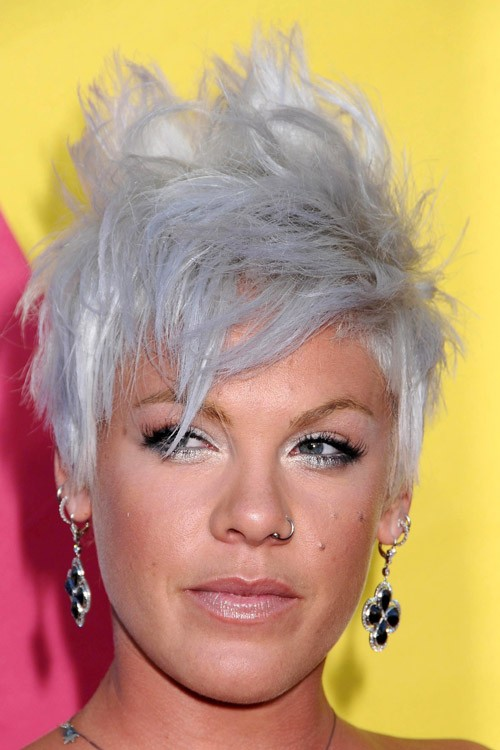 Pink Straight Silver Choppy Layers Messy Mohawk Uneven