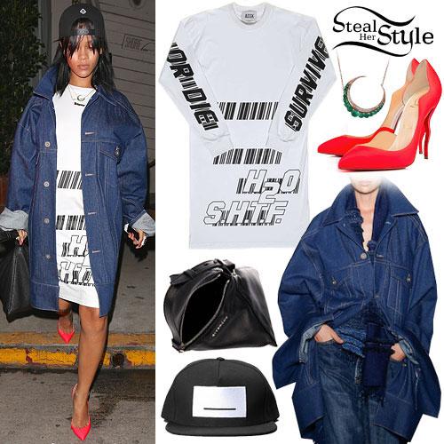 Rihanna: Denim Coat, Red Pointed Pumps