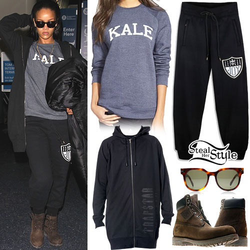Rihanna: Kale Sweatshirt, Black Sweatpants