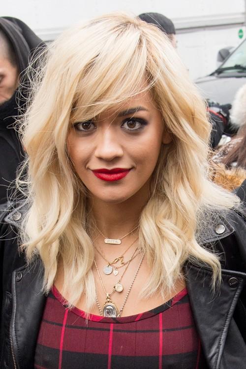 Rita Ora Wavy Platinum Blonde Sideswept Bangs Hairstyle Steal Her Style