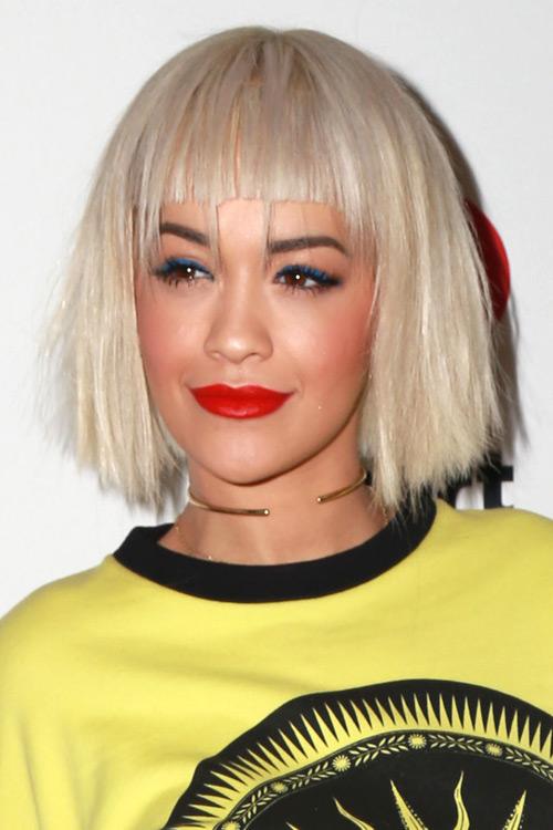 Rita Ora Straight Platinum Blonde Angled Bob Straight