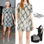 Rita Ora: Python Dress, Platform Pumps