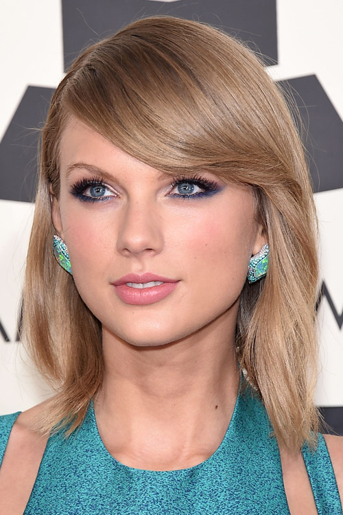 Taylor Swift Straight Light Brown Bob Sideswept Bangs
