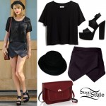 Taylor Swift: Black Skort, Platform Sandals