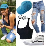 Tinashe: Ribbed Top, Boyfriend Jeans