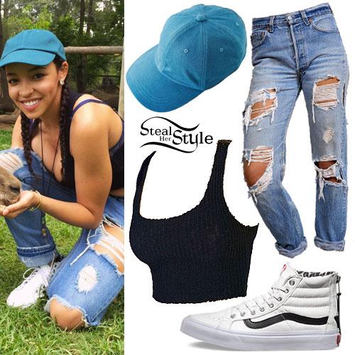 Tinashe: Ribbed Top, Boyfriend Jeans