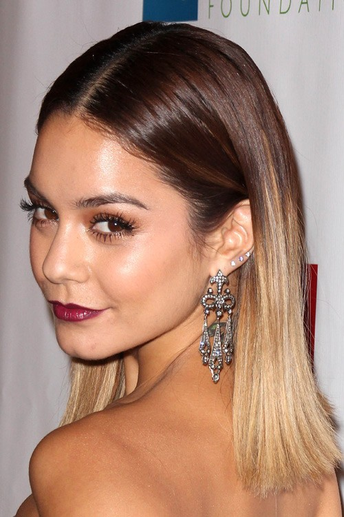 Vanessa Hudgens Straight Medium Brown Ombré Two Tone Hairstyle Steal Her Style
