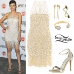 Victoria Justice: Jewel Dress, Gold Sandals