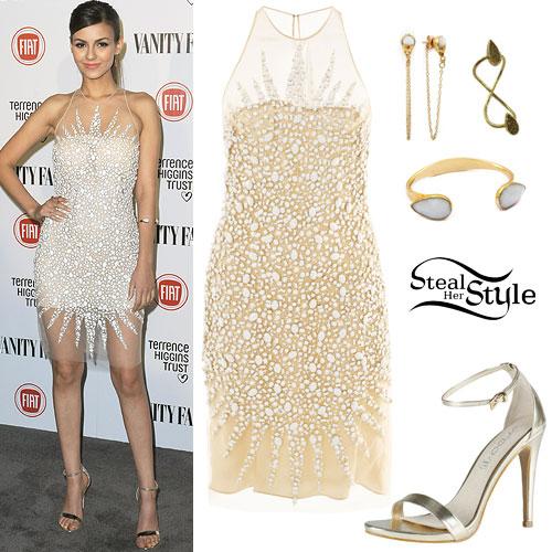 Victoria Justice: Jewel Dress, Gold Sandals