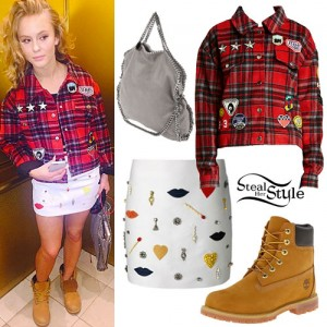 Zara Larsson Red Plaid Jacket Tan Boots