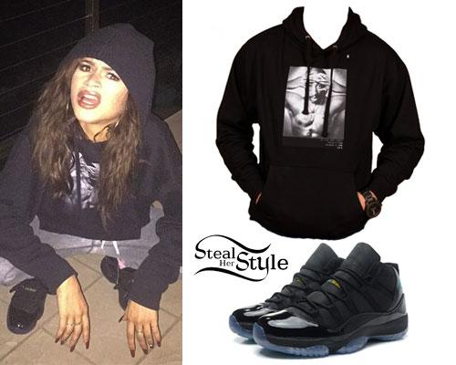 Zendaya: Tupac Hoodie, Black Patent Jordans
