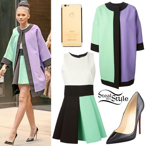 Zendaya: Mint Green Colorblock Cape & Dress