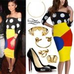Zendaya: Polka Dot Top, Colorblock Skirt