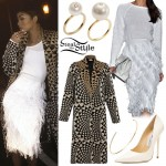Zendaya: Geometric Coat, Feathered Skirt