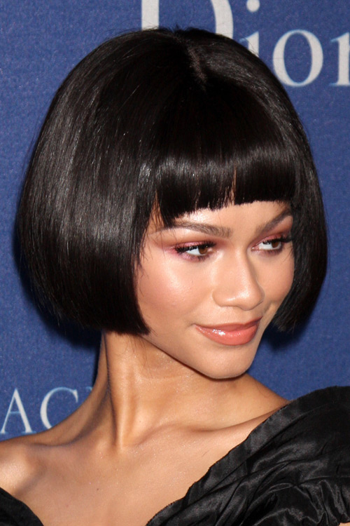 Zendaya Straight Black Bob Curved Bangs Hairstyle Steal