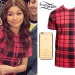 Zendaya: Red Plaid T-Shirt