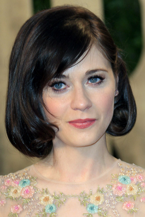 Zooey Deschanel Straight Bob Inward Curl Sideswept Bangs