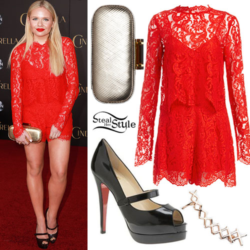 Alli Simpson: Red Lace Romper, Mary Janes