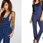 Allison Green: Blue Houndstooth Overalls