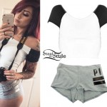 Allison Green: Raglan Top, Gray Boyshorts