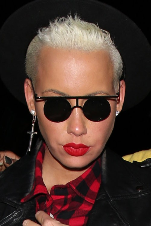 Amber Rose Straight Silver Mohawk Sidecut Hairstyle