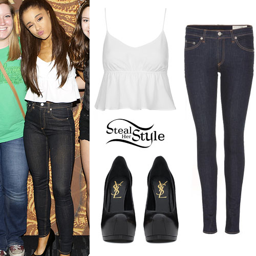 Ariana Grande White Peplum Top Skinny Jeans | Steal Her Style