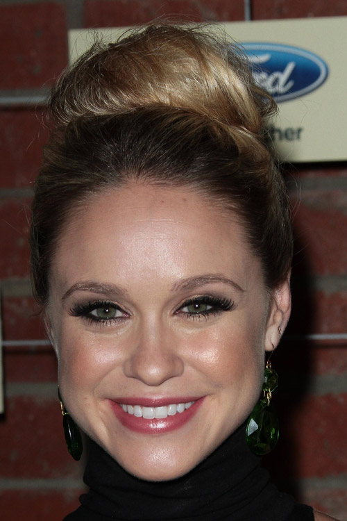 Becca Tobin Straight Light Brown Bun Ombr 233 Hairstyle