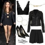 Becky G: Leather Jacket, Layered Skort