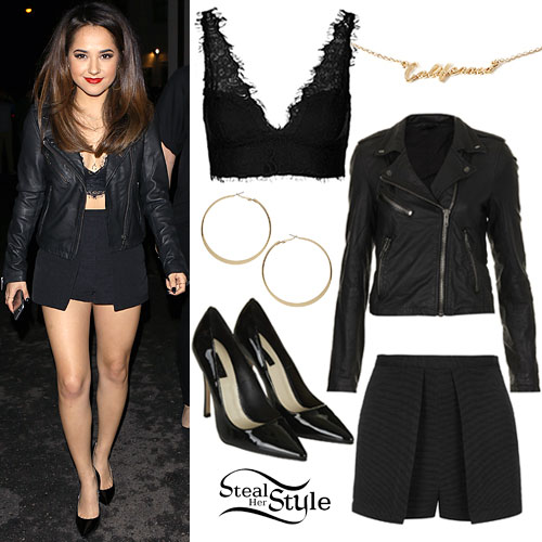 Becky G: Leather Jacket, Layered Skort