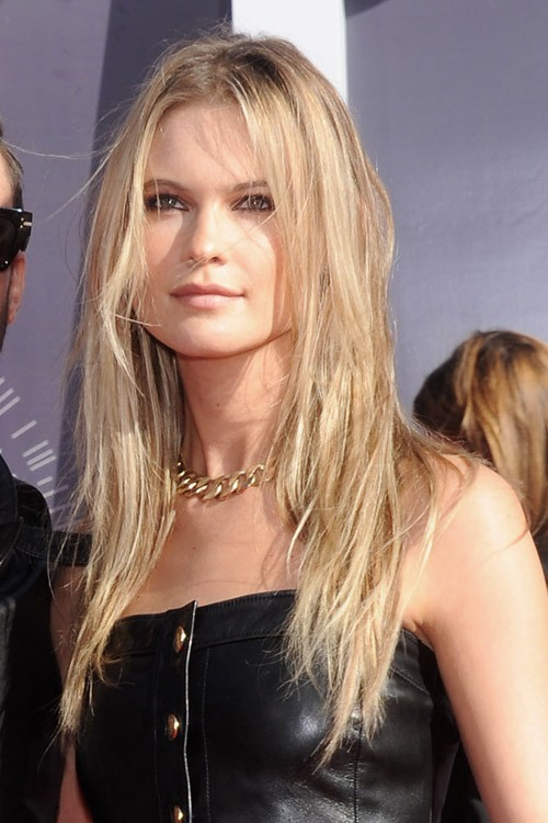 Behati Prinsloo Straight Ash Blonde Angled Messy