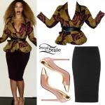 Beyoncé: Printed Peplum Jacket Outfit