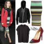 Bridgit Mendler: Striped Pencil Skirt Outfit