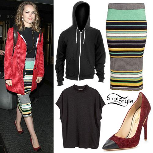 Bridgit Mendler: Striped Pencil Skirt Outfit