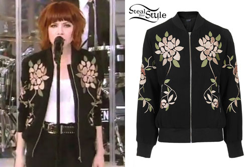 Carly Rae Jepsen: Floral Bomber Jacket