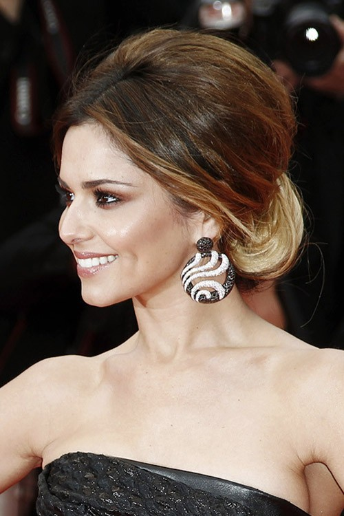 Cheryl Straight Medium Brown Bouffant Ombr Updo Hairstyle Steal