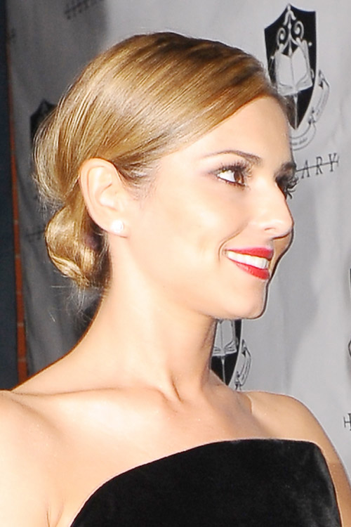 Cheryl Cole Straight Honey Blonde Bun Updo Hairstyle