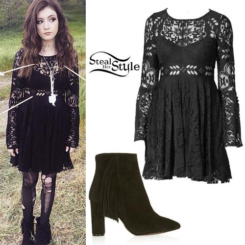 Chrissy Costanza: Lace Dress, Fringe Boots