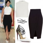 Demi Lovato: White Crop Top, Wrap Skirt
