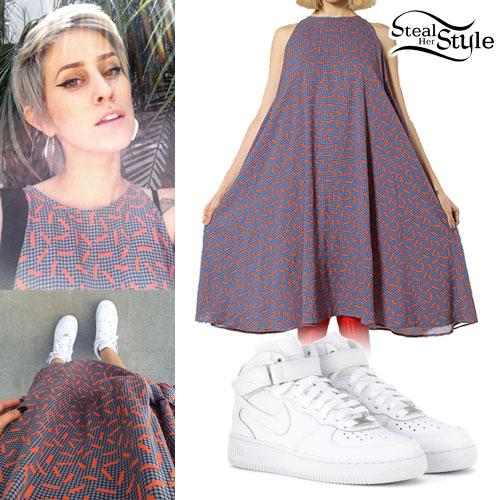 DEV: Printed Trapeze Dress, White Sneakers