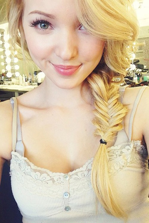 Dove Cameron Straight Golden Blonde Fishtail Braid Hairstyle  Steal Her Style-3630