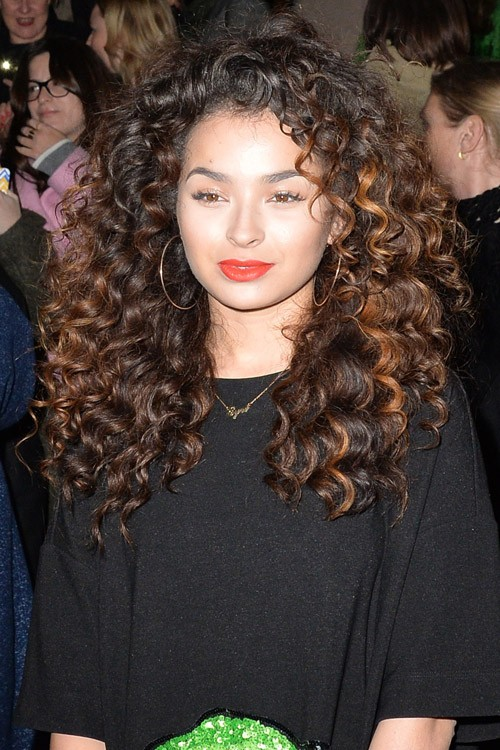 Ella Eyre Curly Dark Brown Afro Peek A Boo Highlights Hairstyle